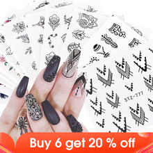 12pcs Water Decals Floral Jewelry Nail Stickers Black Geometry Hollow Designs Sliders For Nails Decoration Manicure JISTZ766 778