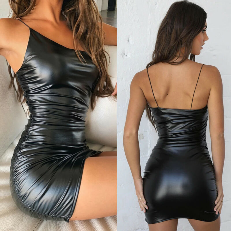 Women Sexy PU Leather Stretch Bodycon Dress Cocktail Club Sleeveless Midi Dress /BY