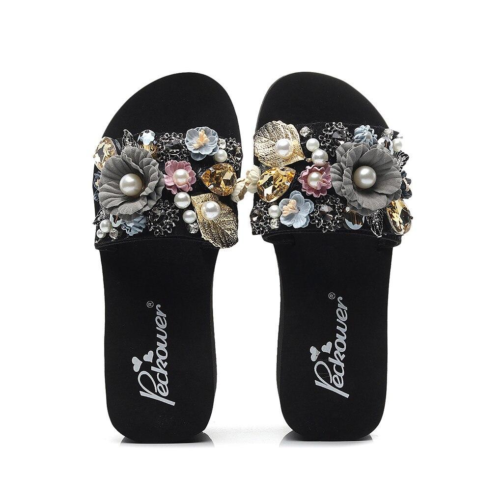 Summer Women Sandals with Beautiful Camellia Flower Sweet Flip Flops Black 9