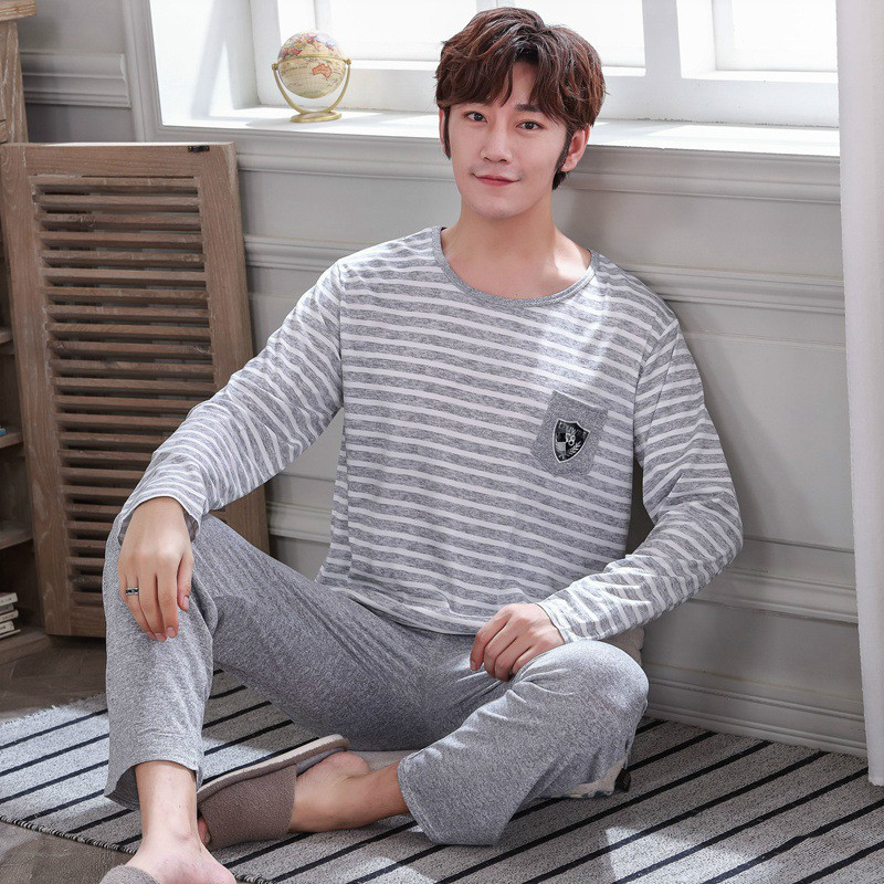 Wontive Mens Pajama Set Spring And Autumn New Long Sleeve Crew Neck Pijama For Home Service Pyjamas Suit Male Sleep Clothing