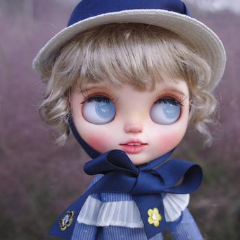 1/6 blyth doll toy bjd joint body white skin Blue eyes smiling girl makeup doll with  joint body gift makeup face naked doll
