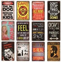 Ostrzeżenie Slogan geniusz w pracy nie Fart strefa pies Retro metalowe tabliczki Home Decor Vintage znaki blaszane Bar Pub Bar