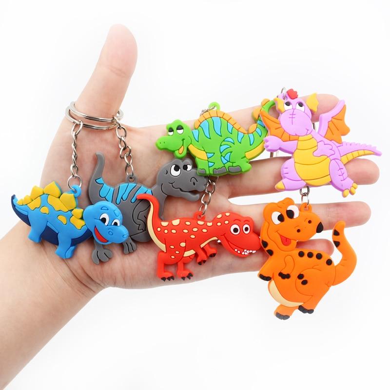2020 6 Colors Fashion DIY Cute Fairytale PVC Dinosaur Keychain Key Rings Holder Alloy Key Chain For Woman Man Kids Gift Jewelry