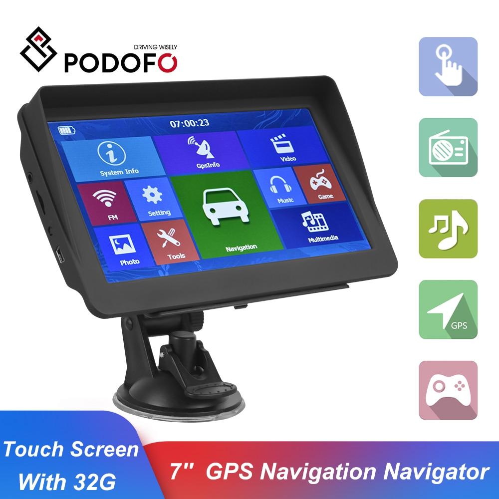 Podofo 7'' Autos Sat Nav GPS Navigation Navigator Mit Freies Neuesten Karten Touch Screen Unterstützung FM Radio MP3 MP4