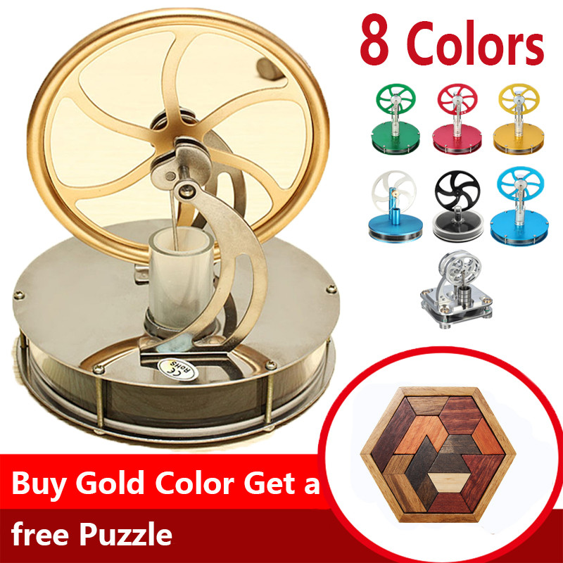 Hot Sale Discovery Toys Low Temperature Stirling Engine Model Educational Toy Gift For Kid Adult Blue Gold Green Red Black