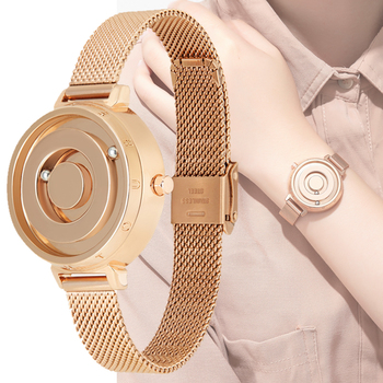 Elegant Magnetic Ball Quartz Watch Women Leather Stainless Steel Ladies Dress Wristwatch Minimalist Reloj De Mujer Gift Lover
