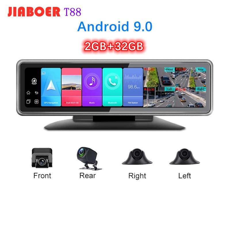 4G Android 9.0 4 Cameras Car Dash Cam GPS Navigation HD 1080P Video Recorder Dashboard DVR WiFi App Remote Monitoring