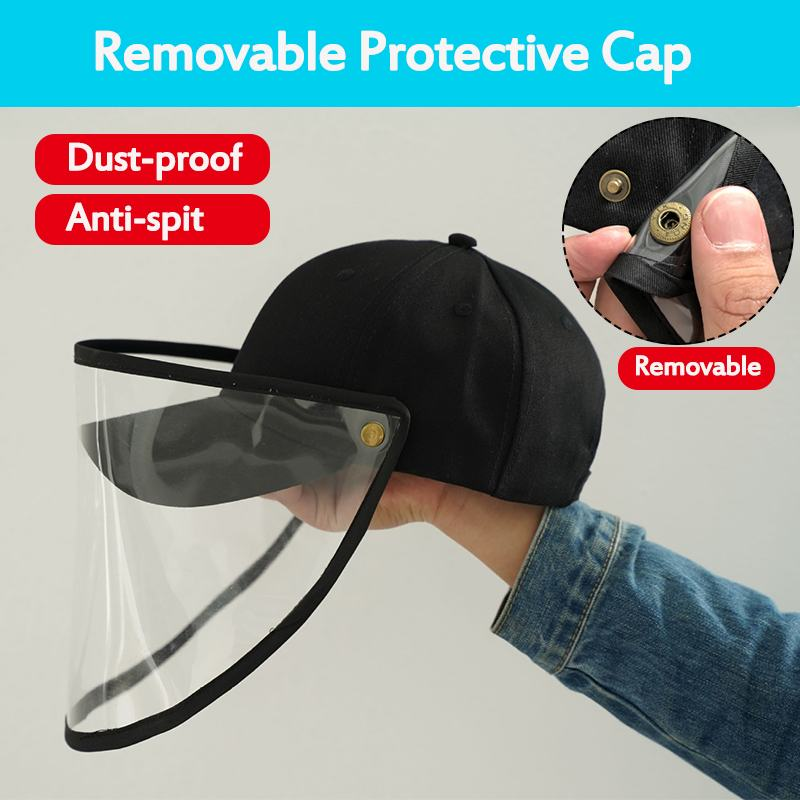 Safety Anti-Droplet Cover Cap Transparent Removable Protection Face Shield Hat Anti Dust Waterproof Shield Screen Aseball Cap