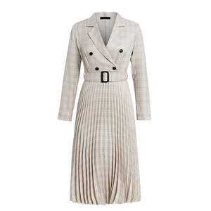 Image 5 - Aartiee Elegant 2019 Autumn winter ladies Blazer dress Button belt long sleeve dress female plaid dresses women Sexy vestidos