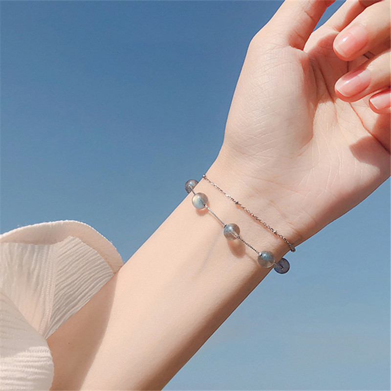 925 Sterling Silver Double Layer Moonstone Round Bead Charm Bracelet Elegant Women Jewelry Accessories sl140