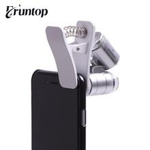 1 sztuk Mini do sprawdzenia waluty mikroskop 60X wysokiej mocy aparat telefon lupa do oceny jakości biżuterii tanie tanio Eruntop Inne do majsterkowania w domu