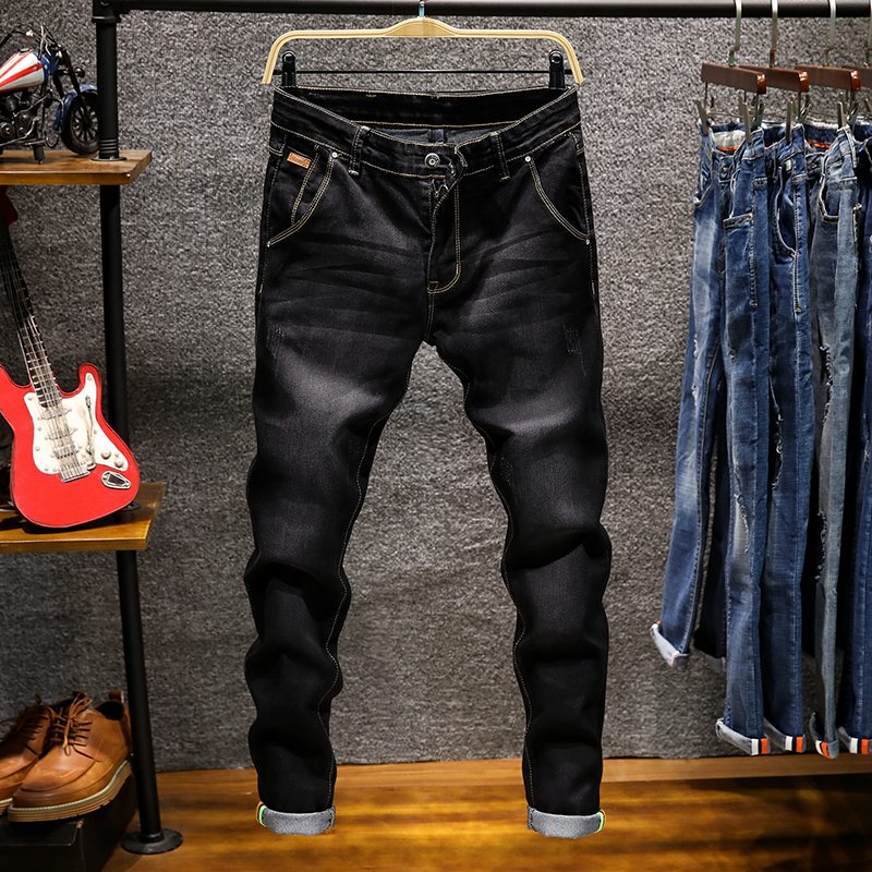 CHOLYLhigh Quality Soft Cotton Stretch Slim Jeans 2019 Spring New Style Men's Fashion Casual Trousers Black Khaki Green Blue