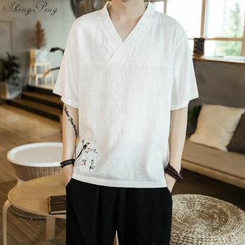 Mężczyźni tradycyjna chińska odzież topy strój Tang Hanfu chińska koszula stylowy Top odzież bluzka Kung Fu Tai Chi jednolite V1842 tanie i dobre opinie sheng peng COTTON Linen CN (pochodzenie) Sukno