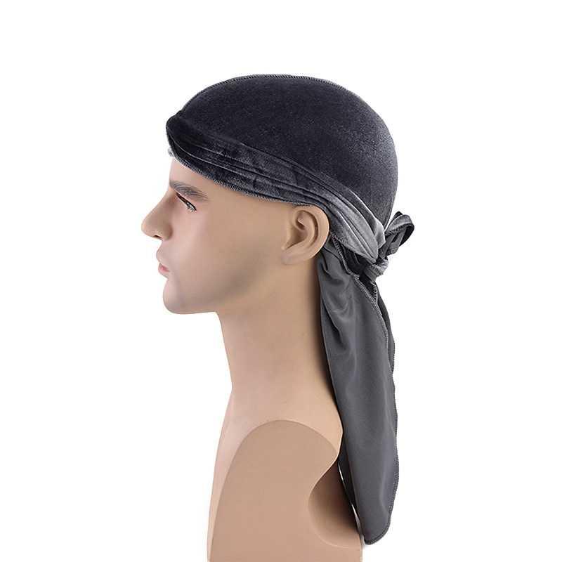 Plaj kap Doo paçavra katı uzun kuyruklu süper yumuşak kadife türban kap kafa şal Bandana şapkalar giyim aksesuarları