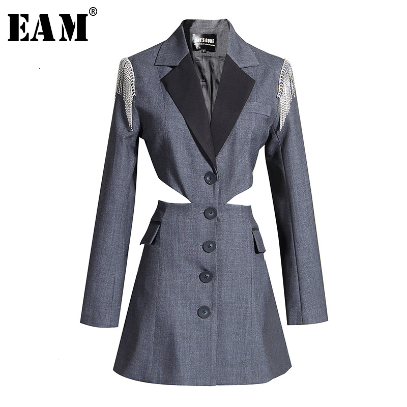 [EAM]  Women Gray Split Hollow Out Blazer New Lapel Long Sleeve Loose Fit  Jacket Fashion Tide Spring Autumn 2019 19A-a780