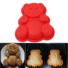 3D Силиконовая форма, милый медведь, форма для украшения торта, инструмент для украшения медведя, форма для выпечки, форма для торта поддон, с...