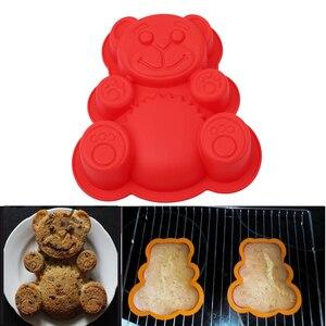 3D Silicone Mold Cute Bear Shape DlY Cake Decorating Tool Bear Mold Bakeware Cake Mold Tray Baking Silicona Molde 17*15.5*3cm