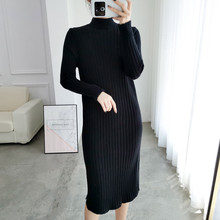 Split Solid O-Neck Long Sleeve Vestido Sweet Winter Knitted Dress Autumn Women Elegant Woman New 2019 Fashion Slim Soft Mujer(China)