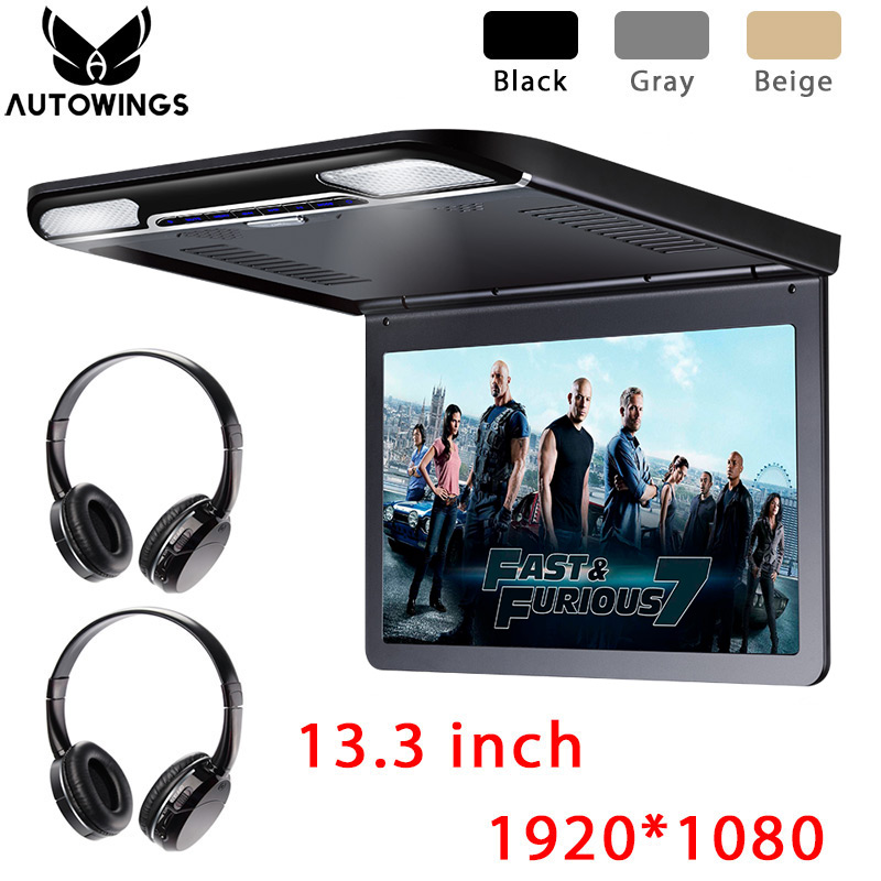 13.3 inch Car Flip Down Monitor Video Player 1920*1080P Full HD TFT LCD Screen Car TV 2 IR Wireless Headphone USB SD HDMI MP5 image