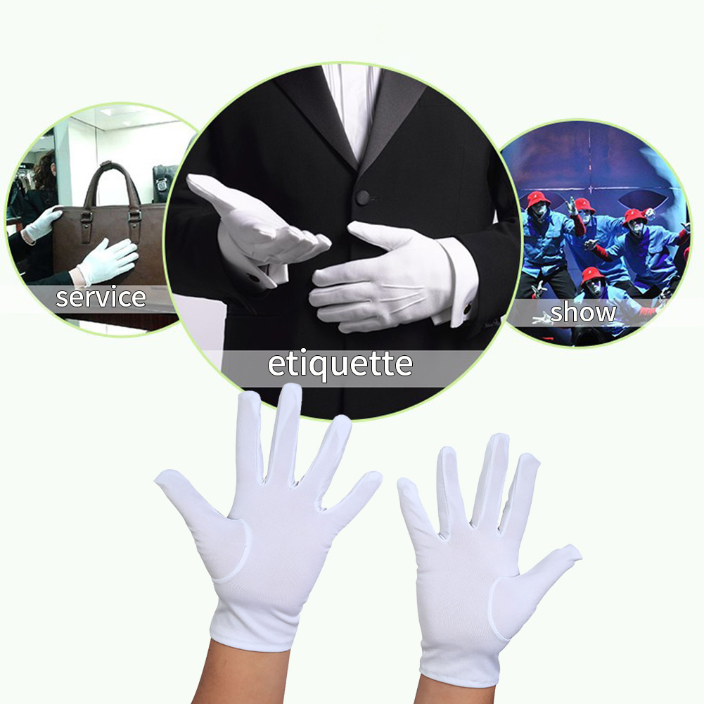 White Gloves Magician Honor Guard Hands Protector Full Finger Men Women Formal Tuxedo Etiquette Reception Parade Labor Insurance