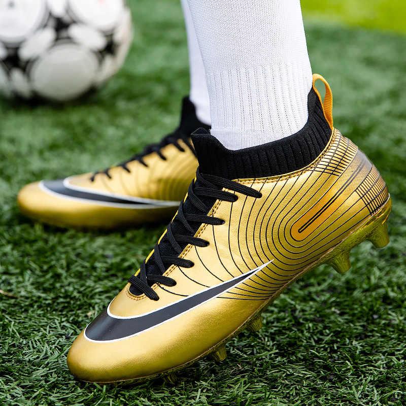 2020 homens da moda botas de futebol alta tornozelo sapato de futebol macio chão sapatos meias grampos treinamento ao ar livre gramado tênis