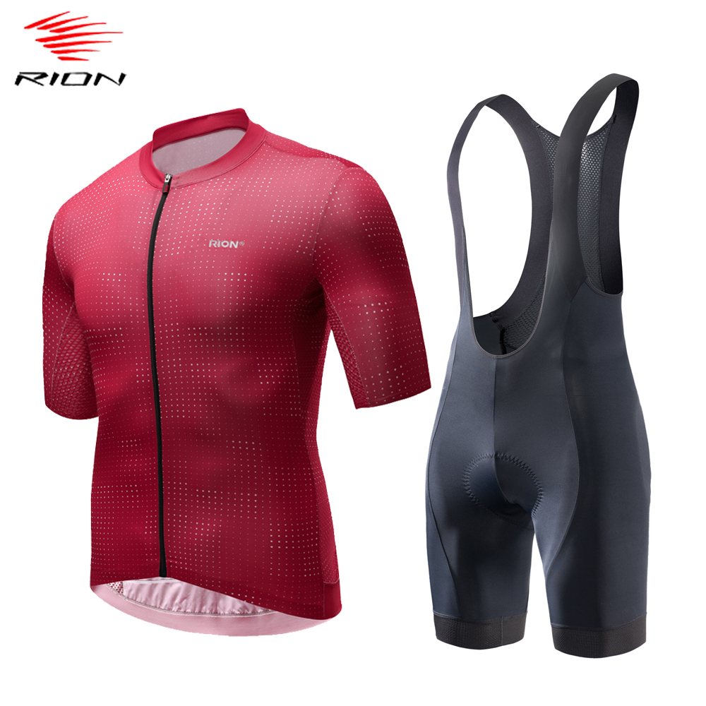 RION Men Cycling Sets Summer 2020 Road Bike Jersey MTB Downhill Gel Pad Cycling Bib Shorts Breathable Cycling Jersey Set
