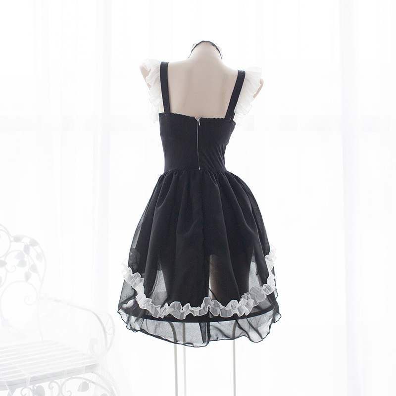 Lolita Sweet Gothic Dress Cute Anime Maid Costumes Lingerie Chiffon Ruffle Bikini Set for Women Sexy Lingerie Uniform Temptation 3