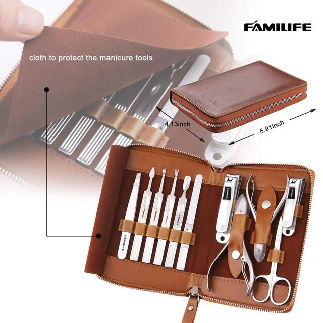 Manicure Set, FAMILIFE Professional Manicure Kit Nail Clippers Set 11 in 1 Stainless Steel Pedicure Tools Kit Grooming Kit 2