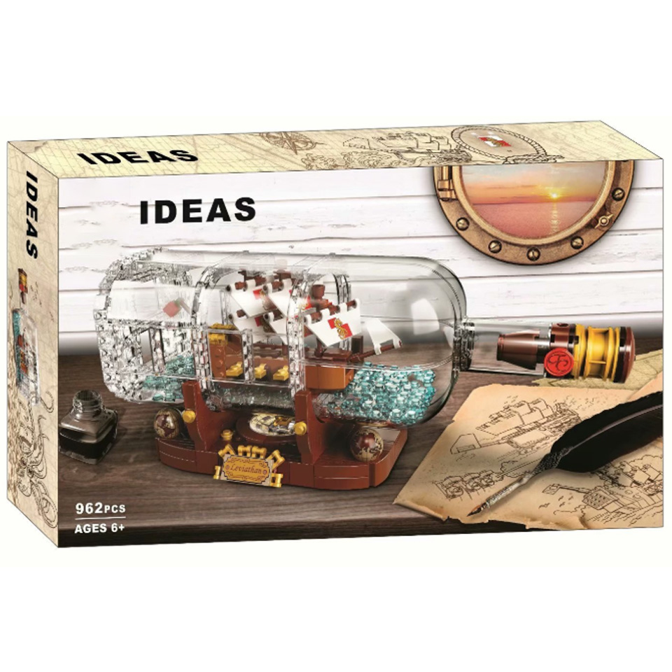 16051 In Stock Ideas pirate Ship Boat In A Bottle Ship lepining <font><b>21313</b></font> Model Building Blocks Bricks gift image