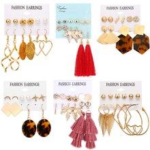 HOCOLE Fashion Geometric Dangle Earrings Set For Women Bohemian Acrylic Resin Oversize Tassel Drop Earring Set Statement Jewelry resin tassel geometric drop earrings