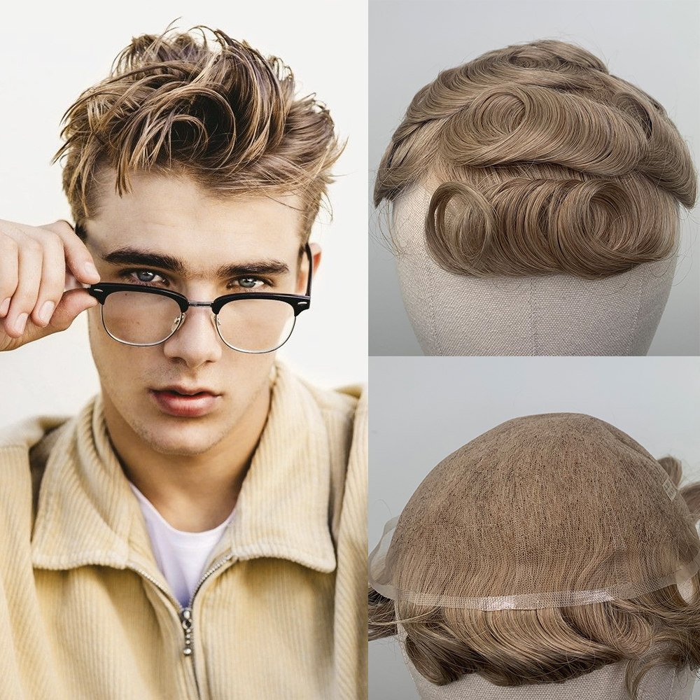 YY Wigs For Men #20R Blonde Human Hair Replacement System Men's Toupee Indian Hair Swiss Lace Wig For Man  8x10 Hairpiecs
