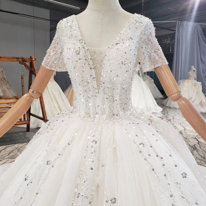 HTL1838 Top Full Of Beads And Sequins Tulled Wedding Dress 2020 Luxury Short Sleeve Lace Up Back white 5