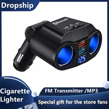 4.8A 12-24V Car Charger Dual USB Chargers FM Transmitter Car Mp3 Player Car Cigarette Lighter Socket Splitter Plug Fast Charger image