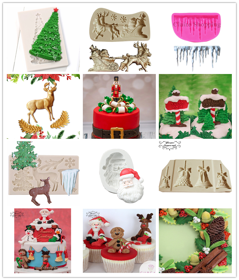 US $0.8 24% OFF|Yueyue Sugarcraft Christmas tree Silicone mold fondant mold  cake decorating tools chocolate on AliExpress