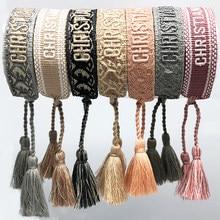 Jóias mão-bordado margarida cor algodão pulseira feminina tecido borla ajustável pulseira