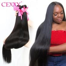 CEXXY extensiones de cabello humano brasileño, extensiones de pelo ondulado liso, cabello Remy, Color Natural, 1/3/4 de largo, extensiones de 30 pulgadas
