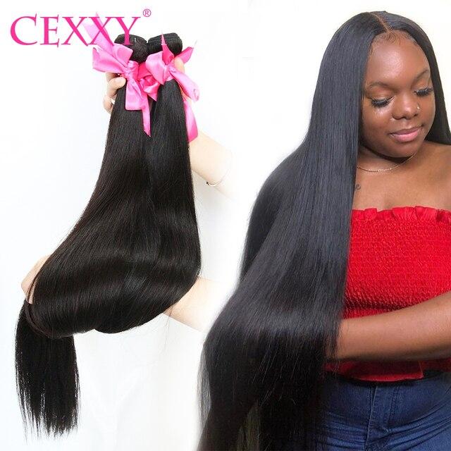 CEXXY حزم الشعر البشري ضفيرة شعر برازيلي حزم مستقيم شعر ريمي اللون الطبيعي 1/3/4 حزم الشعر التمديد طويلة 30 بوصة