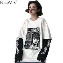 Camisa de manga longa feminina vetement femme 2020 nicemix harajuku camiseta feminina falso 2 peças imprimir japonês fujiang horror comics