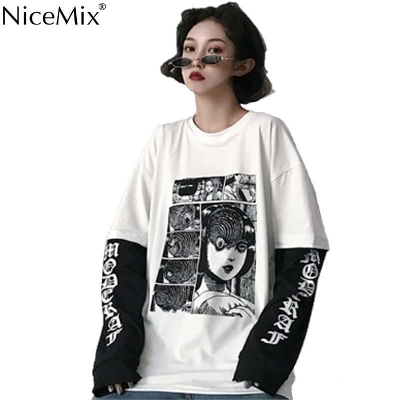 NiceMix Harajuku T-shirt Women Fake 2 Pieces Print Japanese Fujiang Horror Comics Long Sleeve Shirt Women Vetement Femme 2020