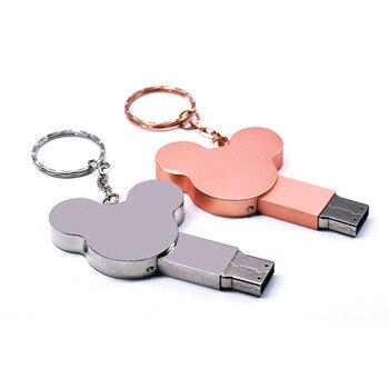Fashion Ear USB Flash Drive 16GB 32GB 4GB 64GB 128GB Silver Metal Pen Drive Flash Memory Stick Pen Drive Mickey Usb Stick Disk