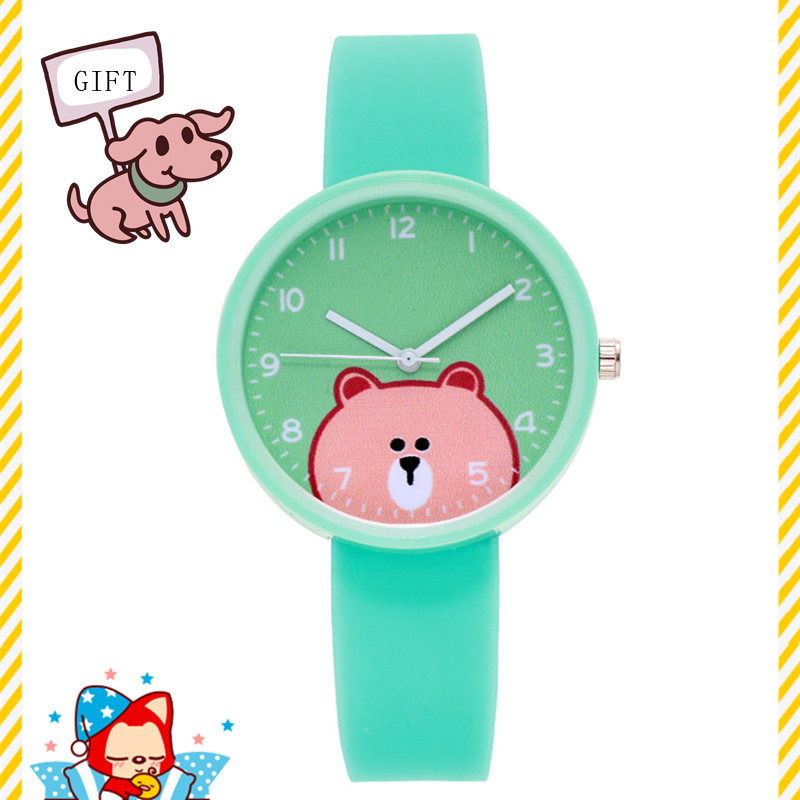 Dropshiping 2020 Best Gift Clock To Send Kids Boys Girls Baby Silicone Cartoon Bear Children Quartz Watch Students Best Prizes