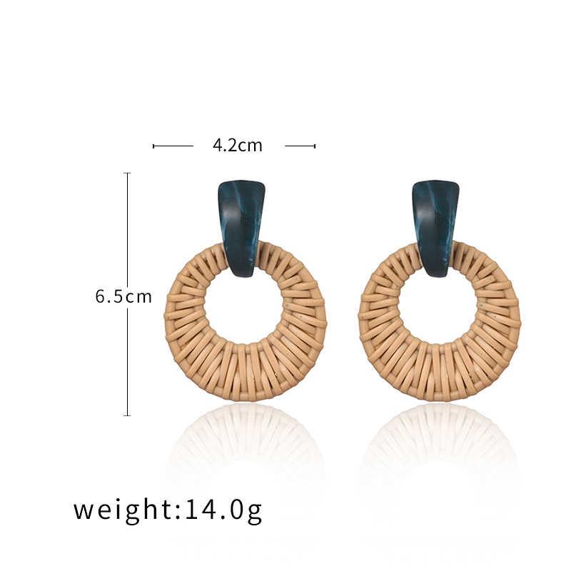 Korea Bohemia Handmade Geometris Drop Anting-Anting untuk Wanita Imitasi Rotan Menenun Jerami Merajut Vine Anting-Anting Liburan Pesta Perhiasan