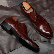 QYFCIOUFU Business Brogue Dress Shoes Men Genuine Cow Leather Retro Formal Shoes Gentleman Wedding Shoes Man Fashion Oxfords