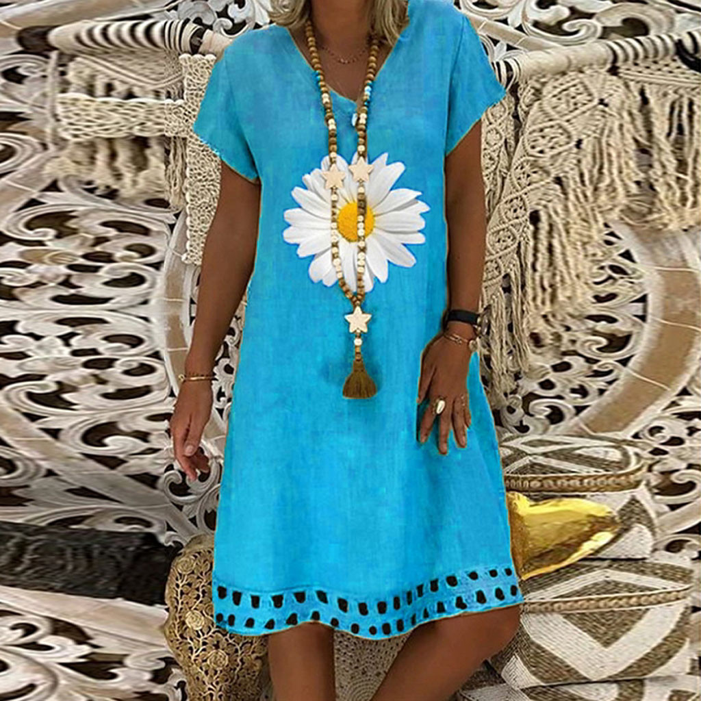 Fashion linen dress Women Plus Size Daisy Printed Short Sleeves V Neck Casual Short Dress bayan