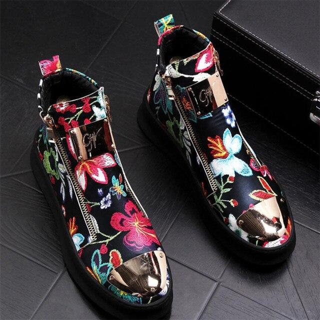 Zapatos bordados de estilo británico para hombre, zapatillas de lujo informales de goma inferior, color dorado y rojo, alta calidad, 2019 6