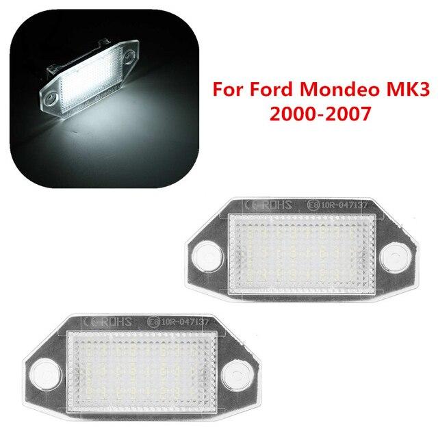 2 pces 12v 24 led luzes da placa de licença do número do carro lâmpadas branco para ford mondeo mk3 mkii 2000 2007 4 porta/5 porta