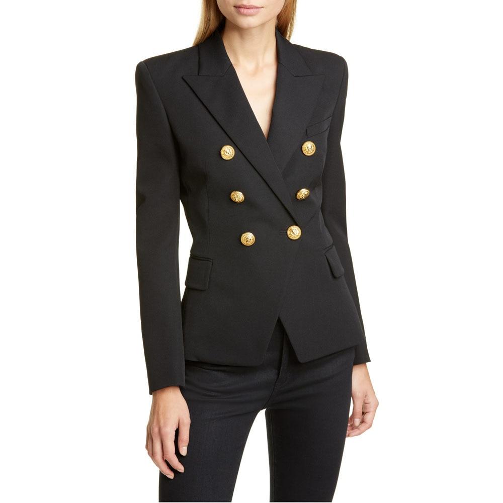 Autumn 2020 New Women's Plaid Suit Coat Casual Women's Notched Double Breasted Gold Button Decorative Suit Top