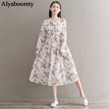 Mori menina outono feminino vestido longo gola arco floral impresso cintura alta vestidos longo elegante chiffon doce vestidos românticos