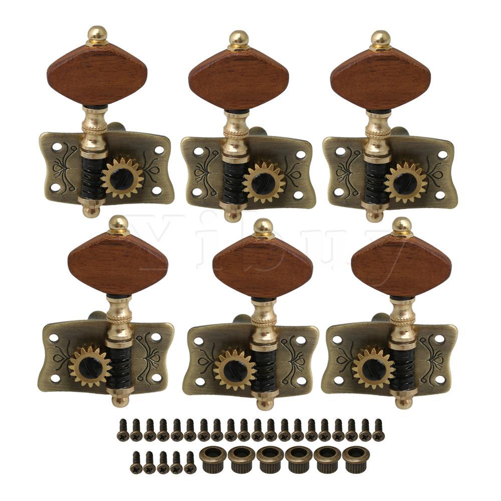 Yibuy clé de réglage en métal Bronze avec boutons carrés rouges pour accord de ton ukulélé 3L3R