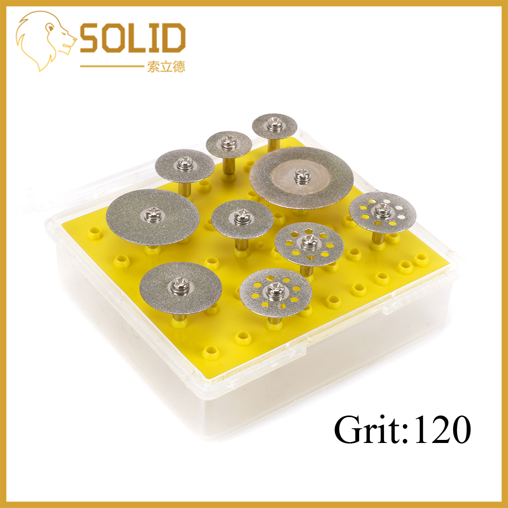 Diamond Cutting Discs Set 16-35mm Grinding Cut Off Wheel Blad Drill Bit Shank 3mm For Rotary Tool 10Pcs/Set 120 Grit